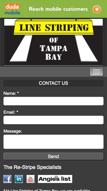 Screenshot of Contact Page Hours Page  linestripingoftampabay.com -