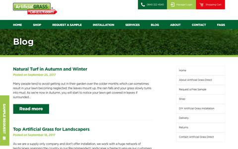 Screenshot of Blog artificialgrass-direct.com - Blog - Page 1 of 18 - Artificial Grass Direct Blog - captured Oct. 8, 2017