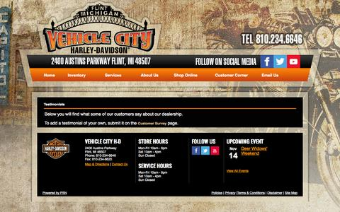 Screenshot of Testimonials Page vehiclecityharley.com - Flint, Michigan, Harley-Davidson, Motorcycles, Dealer, Used,  Sportster®, Dyna®, Softail®, Touring, CVO™,  Financing, Service, Part, Directions, Event - captured Nov. 5, 2014