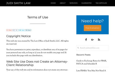 Screenshot of Terms Page judismithlaw.com - Terms of Use - Judi Smith Law - captured Oct. 18, 2018