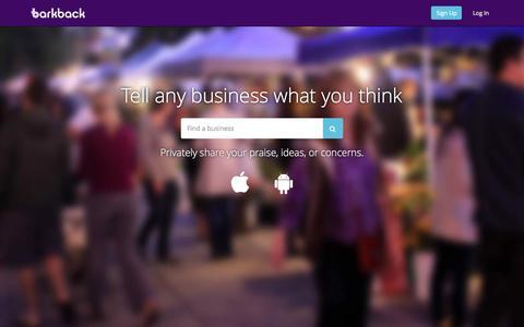 Screenshot of Home Page barkback.com - Barkback - captured Sept. 11, 2015