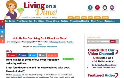 Screenshot of FAQ Page livingonadime.com - FAQ - Living on a Dime - captured Sept. 29, 2018