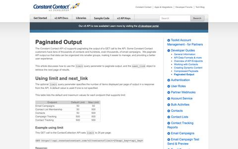 Screenshot of Developers Page constantcontact.com - Paginated Output   Constant Contact Developer - captured June 18, 2019