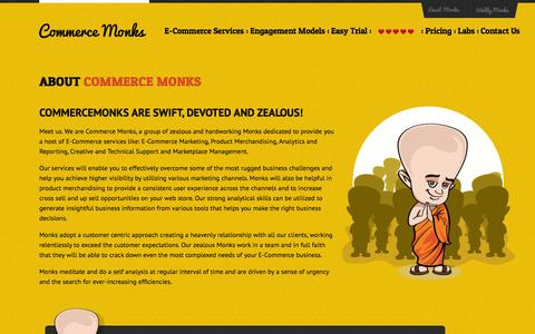 Screenshot of About Page commercemonks.com - About Commerce Monks – E-Commerce Services, Operations & Marketing Company - captured Sept. 19, 2014