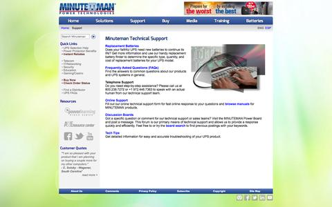 Screenshot of Support Page minutemanups.com - Minuteman UPS - Support and Services - captured Sept. 22, 2014