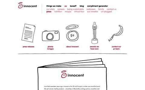 Screenshot of Press Page innocentdrinks.co.uk - innocent - little tasty drinks - captured May 2, 2017