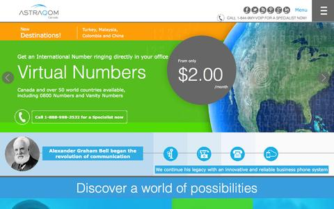Screenshot of Home Page astraqom.ca - Hosted PBX by AstraQom, the best business VoIP provider - captured Sept. 13, 2015
