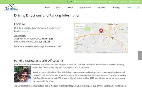 Screenshot of Maps & Directions Page therathrive.com - Directions - TheraThrive Counseling   Walnut Creek, CA - captured Aug. 16, 2016