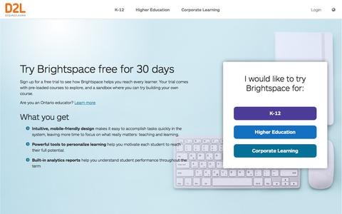 Screenshot of Trial Page d2l.com - LMS Free Trial for 30 Days | Give Brightspace a Try | D2L  Middle East & Africa - captured Jan. 11, 2020