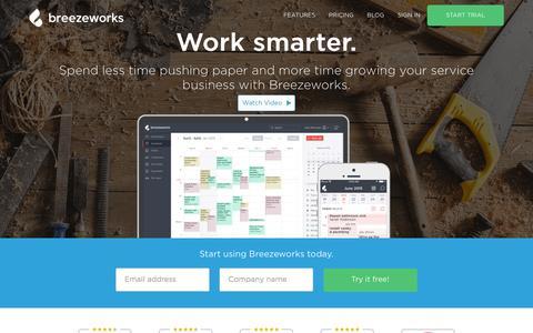 Screenshot of Home Page breezeworks.com - Breezeworks   Service Business Software - captured Dec. 4, 2015
