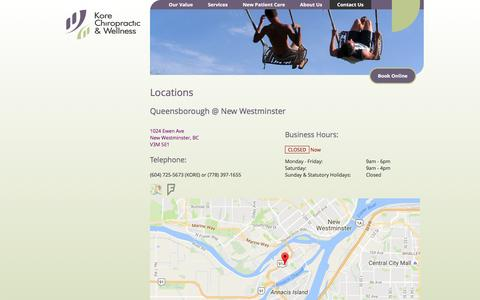 Screenshot of Locations Page korechiro.com - Locations - Contact Us - Kore Chiropractic & Wellness - Massage Therapy - Marine Gateway, Vancouver & Queensborough, New Westminster - captured Nov. 27, 2016