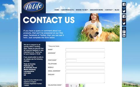 Screenshot of Contact Page hilifepet.co.uk - Contact HiLife - captured Sept. 28, 2016
