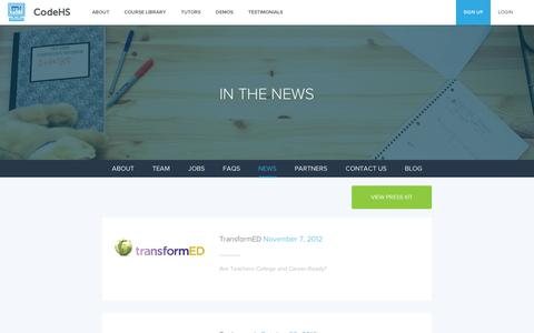 Screenshot of Press Page codehs.com - News | CodeHS - captured Sept. 10, 2014