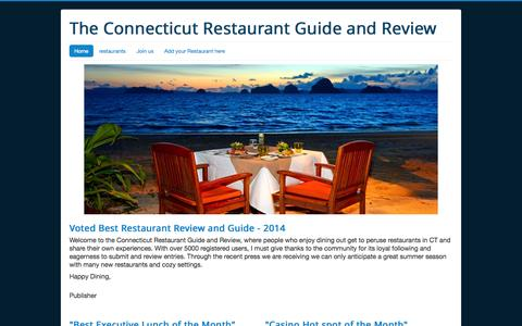 Screenshot of Home Page connecticutrestaurantreviews.com - connecticutrestaurantreviews: Connecticut Restaurant reviews, guide, locations, ratings, and advertising - captured Oct. 3, 2014