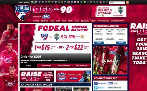 Screenshot of Home Page fcdallas.com - FC Dallas - captured Sept. 23, 2014
