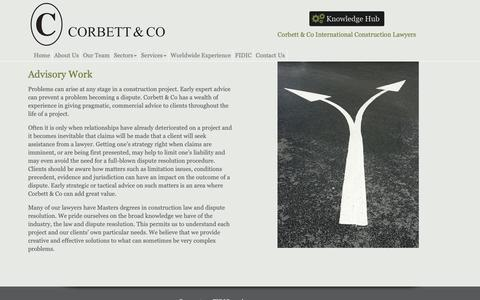 Screenshot of Services Page corbett.co.uk - Advisory Work «  Corbett & Co International Construction Lawyers Ltd - captured Nov. 11, 2018