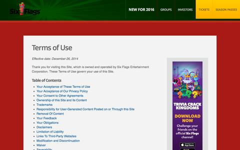 Screenshot of Terms Page sixflags.com - Terms of Use | Six Flags - captured Dec. 3, 2015