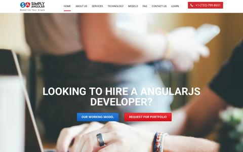 Screenshot of Home Page simplyangular.com - AngularJS Web & Mobile App Development Company, NYC | Hire Angular Developers - captured May 5, 2017