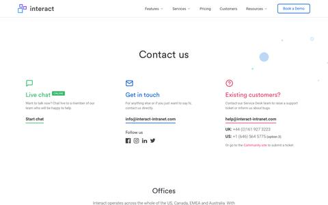 Screenshot of Contact Page interact-intranet.com - Contact us | Interact software - captured May 24, 2019