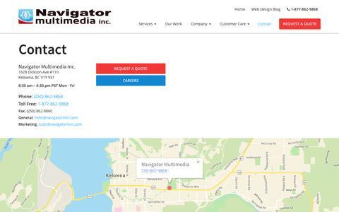 Screenshot of Contact Page navigatormm.com - Contact - Navigator Multimedia - captured Feb. 13, 2016