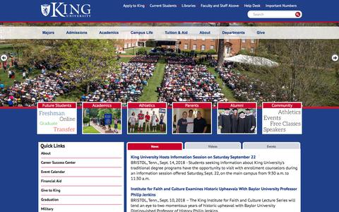 Screenshot of Menu Page king.edu - King University | King University - captured Sept. 23, 2018