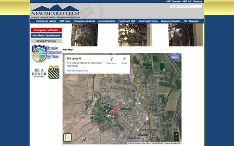 Screenshot of Maps & Directions Page nmt.edu - Area Map - captured Oct. 26, 2014