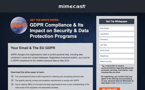 Screenshot of Landing Page mimecast.com - GDPR Osterman Whitepaper | mimecast - captured April 20, 2018