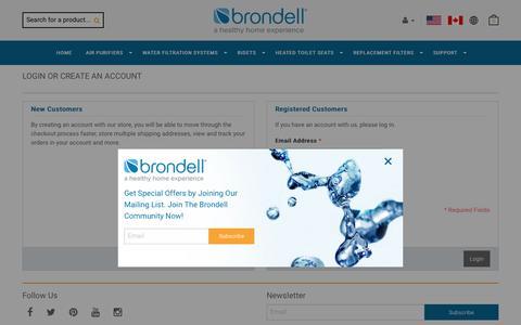 Screenshot of Login Page brondell.com - Customer Login    Brondell - captured Oct. 17, 2016