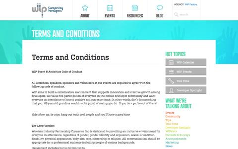 Screenshot of Terms Page wip.org - Terms and Conditions - Wireless Industry Partnership - captured Sept. 24, 2014