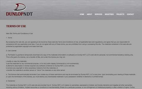 Screenshot of Terms Page dunlopndt.com - Terms of Use - captured Oct. 29, 2014