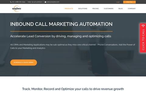 Screenshot of Products Page waybeo.com - Inbound Call Marketing Automation | Waybeo - captured Feb. 17, 2016