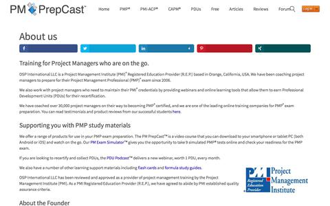 Screenshot of About Page project-management-prepcast.com - About us - captured Sept. 20, 2019
