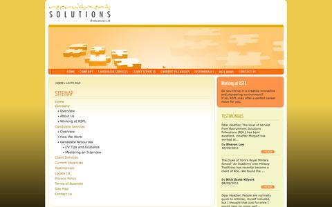 Screenshot of Site Map Page rsfl.co.uk - Recruitment Solutions (Folkestone) Ltd - captured Oct. 26, 2014