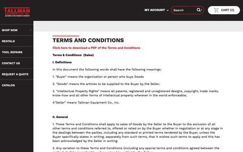 Screenshot of Terms Page tallmanequipment.com - Terms and Conditions | Tallman Equipment Co., Inc. - captured Oct. 19, 2018