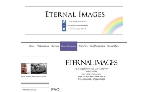 Screenshot of FAQ Page eternal-images-rhyl.co.uk - Frequently asked questions and answers at Eternal Images - captured Oct. 3, 2014
