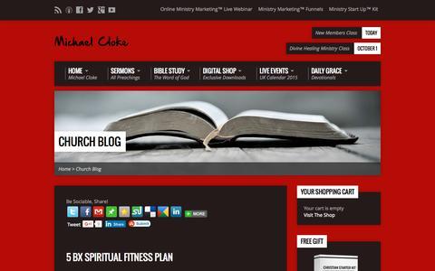 Screenshot of Blog michaelcloke.com - Church Blog   Michael Cloke Ministries - captured Sept. 24, 2015