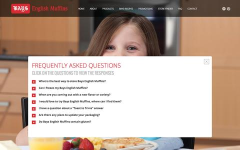 Screenshot of FAQ Page bays.com - Bays English Muffins: Frequently Asked Questions - captured Oct. 5, 2014