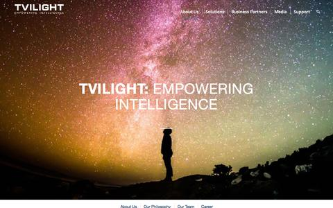 Screenshot of About Page tvilight.com - About us MENU - Tvilight - Empowering Intelligence - captured Feb. 16, 2016