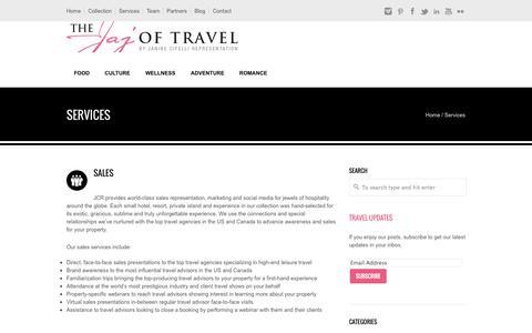 Screenshot of Services Page jajoftravel.com - Services - The Jaj of TravelThe Jaj of Travel - captured Oct. 6, 2014