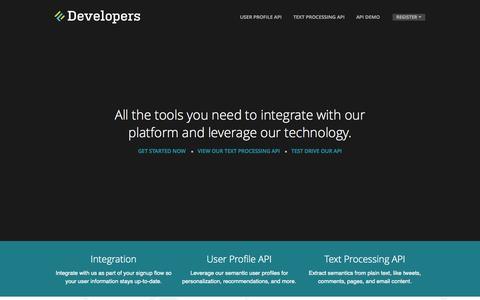 Screenshot of Developers Page jetlore.com - Jetlore Developers:  Home - captured Sept. 16, 2014