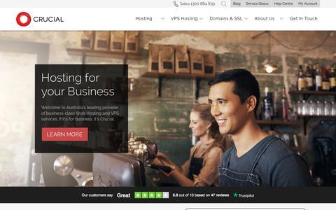 Screenshot of Home Page crucial.com.au - Australian Web Hosting | VPS Hosting | Hosting by Crucial - captured July 10, 2019