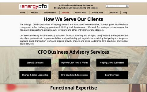 Screenshot of Services Page theenergycfo.com - Services | Texas | The Energy CFO® - captured Oct. 22, 2017