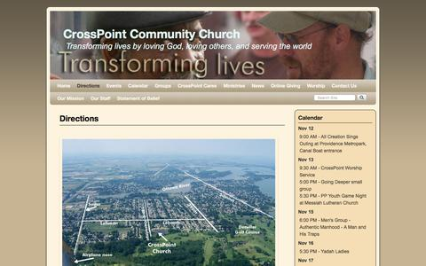 Screenshot of Maps & Directions Page icrosspoint.com - Directions | CrossPoint Community Church - captured Nov. 12, 2016