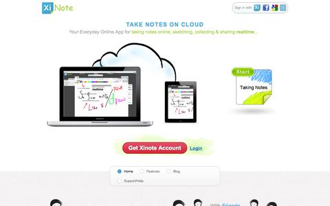 Screenshot of Home Page xinote.com - Xinote - Take notes on cloud. - captured Oct. 7, 2014