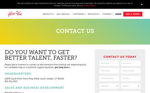 Screenshot of Contact Page hirevue.com - Contact | HireVue - captured May 22, 2019
