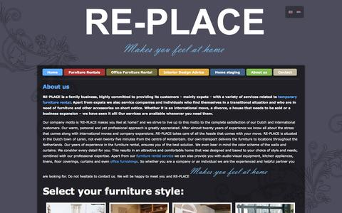Screenshot of About Page re-place.nl - About | Re-Place Furniture Rental - captured Oct. 28, 2014