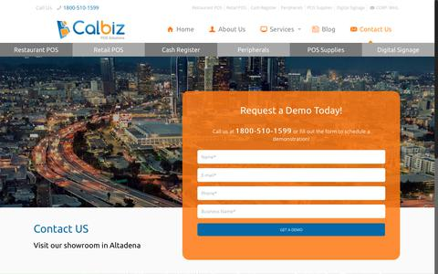 Screenshot of Contact Page calbizpos.com - Calbiz Carries the POS Solution for Restaurant and Retail Environment - captured Nov. 21, 2017