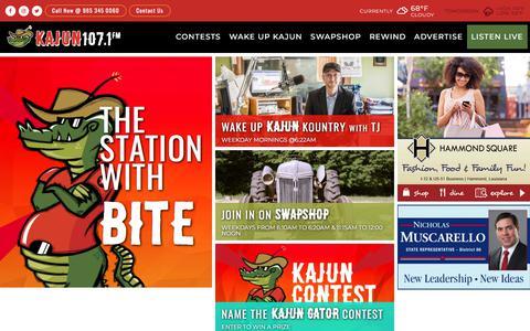 Screenshot of Home Page kajun107.net - WHMD Kajun 107.1 Radio   The Station with BITE - captured Feb. 26, 2018