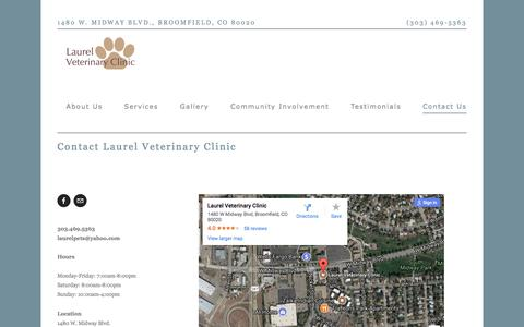 Screenshot of Contact Page laurelpets.com - Contact Us — Laurel Veterinary Clinic - captured July 20, 2017