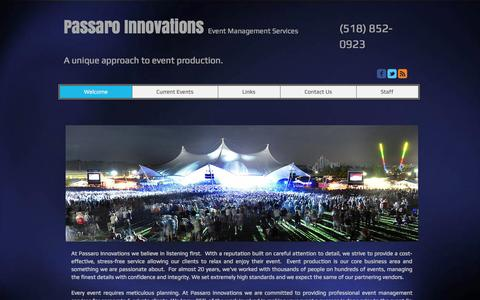 Screenshot of Home Page passaroinnovations.com - Production Management Upstate NY - captured Oct. 2, 2014